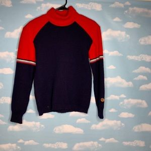 Bushel- Blue & Red Wool Sweater size 4